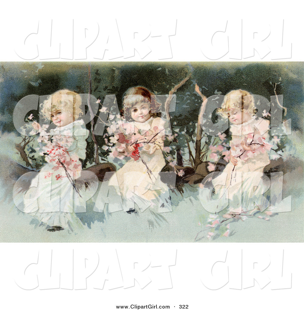 Clip Art Of A Cute Vintage Victorian Scene Of Three Little Girls