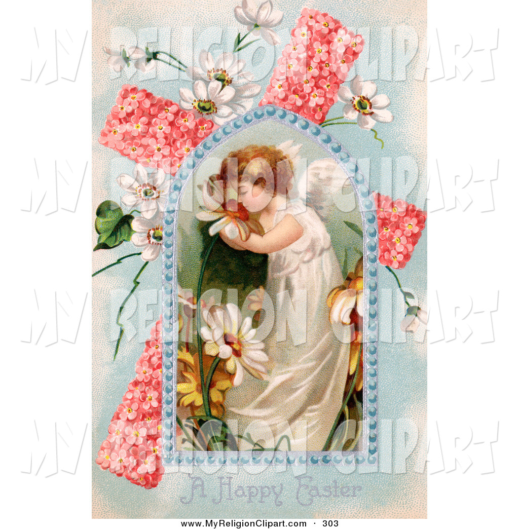 Clip Art Of A Cute Young Victorian Easter Angel Smelling Spring