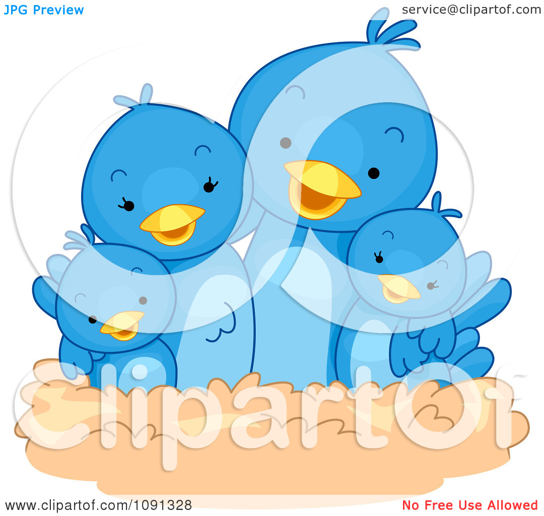 Clipart Cute Blue Bird Family In A Nest   Royalty Free Vector
