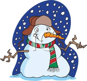 Clipart Image Of A Grinning Snowman In A Snowstorm