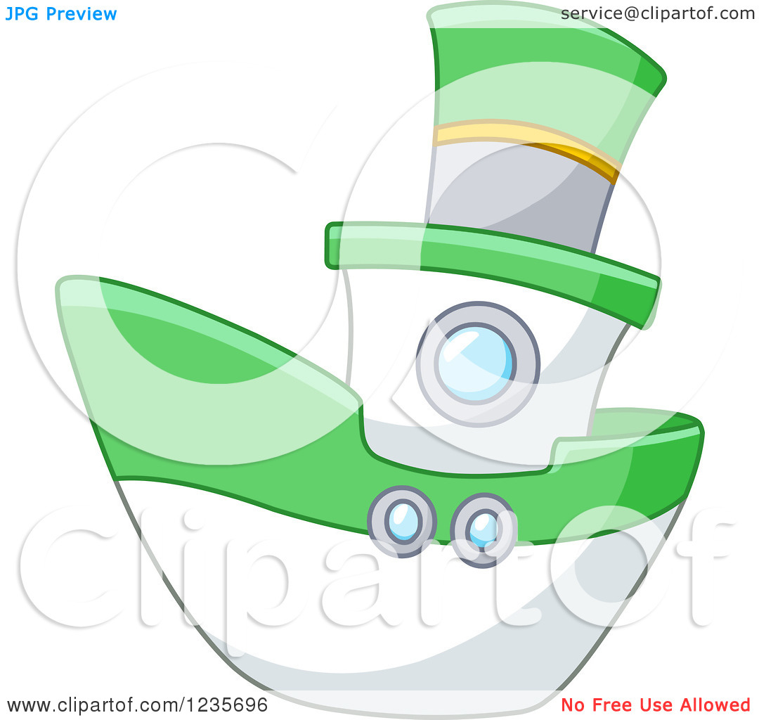Clipart Of A Cute Green And White Boat   Royalty Free Vector