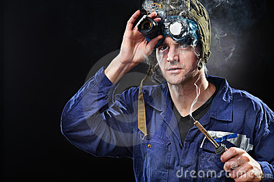Crazy Genius Guy Wearing Weird Hat Royalty Free Stock Image   Image