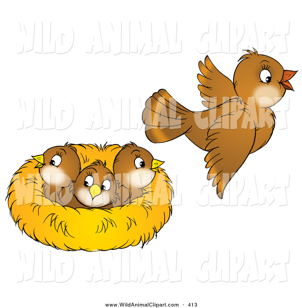 Cute Brown Bird Flying Away From A Nest With Three Baby Birds Cute