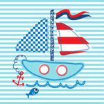 Cute Sail Boat And Lovely Vector Illustration Stock Vector   Clipart
