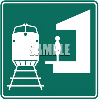 Green And White Road Sign Train Station Symbol   Royalty Free Clip Art
