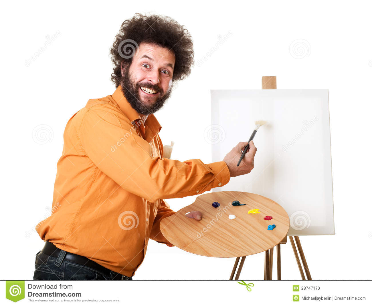 Guy In A Bright Orange Shirt Ready To Paint With A Weird Smile On