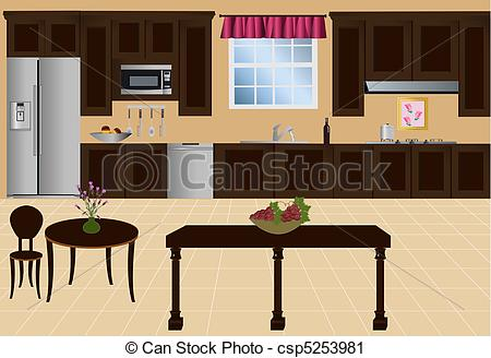 Kitchen With Island Cabinets And    Csp5253981   Search Clipart