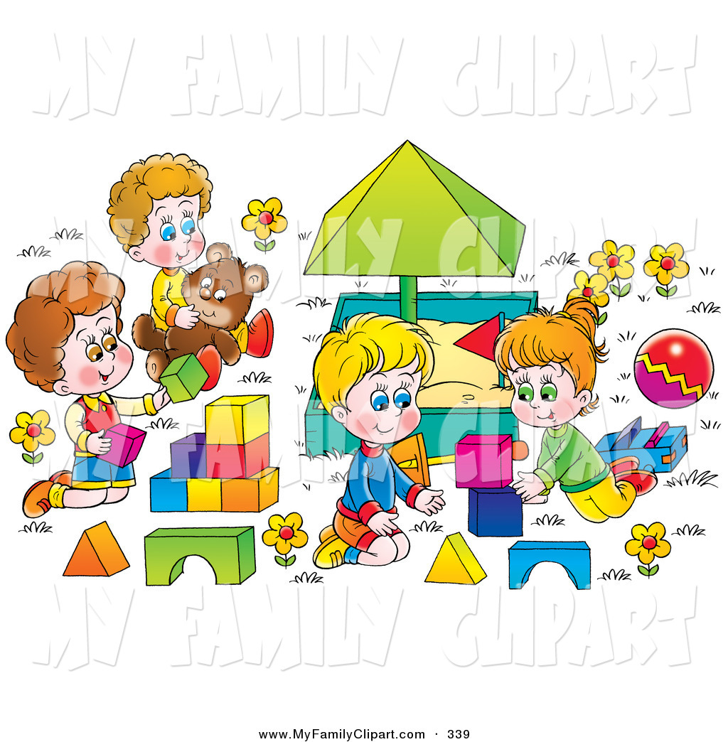 Larger Preview  Clip Art Of A Happy Children Playing With Blocks And