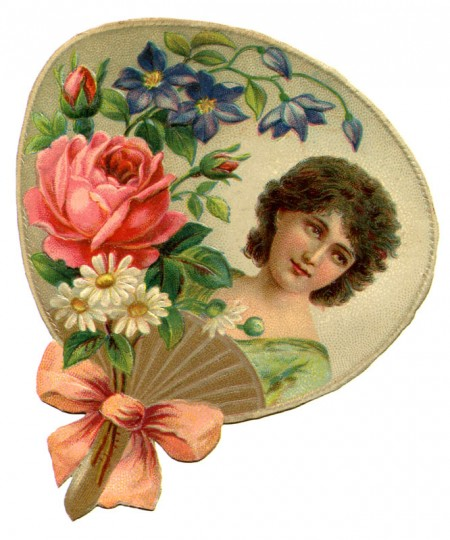 Pretty Victorian Era Woman Framed By A Hand Fan And Flowers   Click