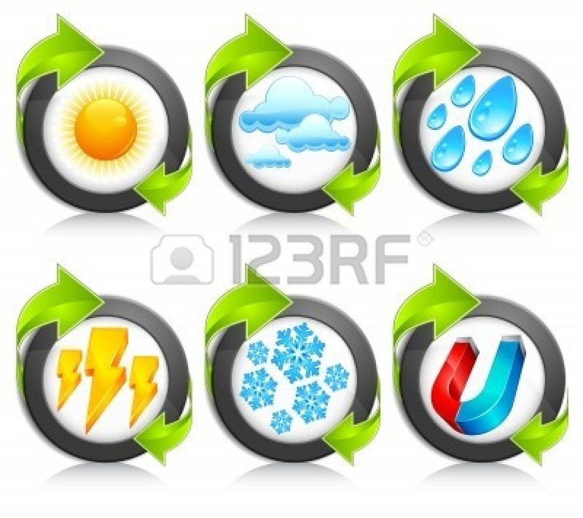 Snowstorm Clipart 8254179 Weather Round Icons With Green Arrow