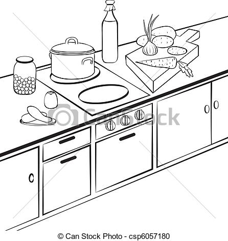 Vector Clipart Of Kitchen   Kitchen Cooking Bw Outline Illustration