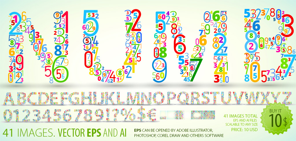 Vector Font Clipart   Colored Numbers   Constructs Every Letter
