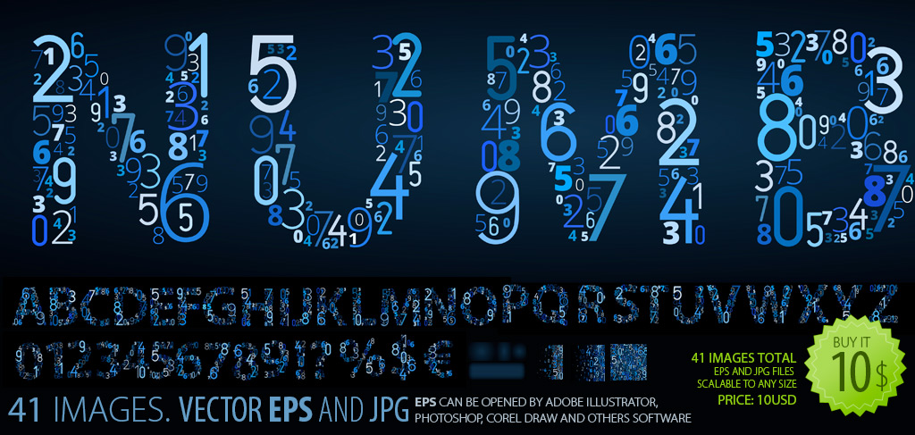 Vector Font Clipart   Numbers On Black   Constructs Every Letter