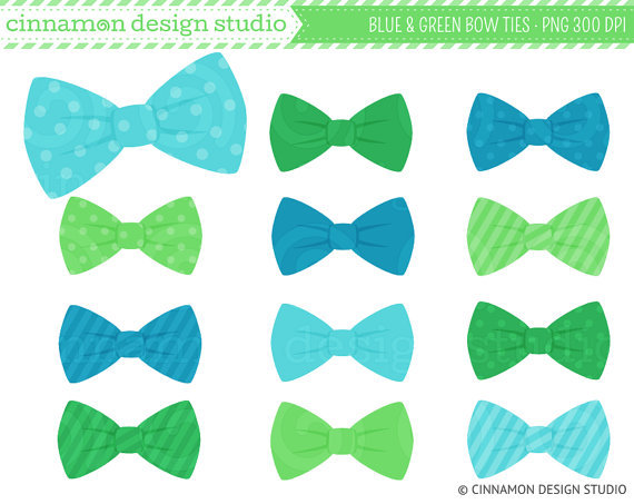 Blue And Green Bow Ties Clip Art   Bows From Cinnamondesignstudio