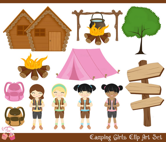 Camping Girls Clip Art Set Perfect For All Kinds Of