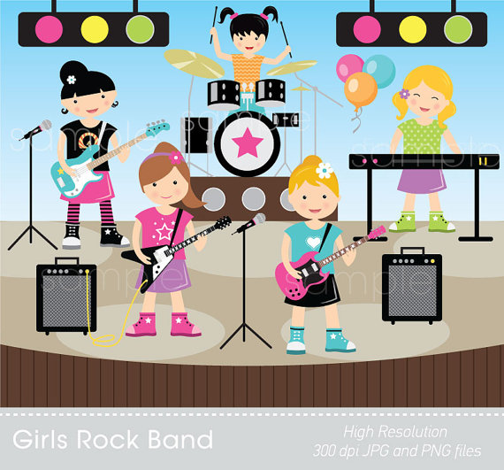 Digital Clipart   Girls Rock Band For Scrapbooking Paper Crafts
