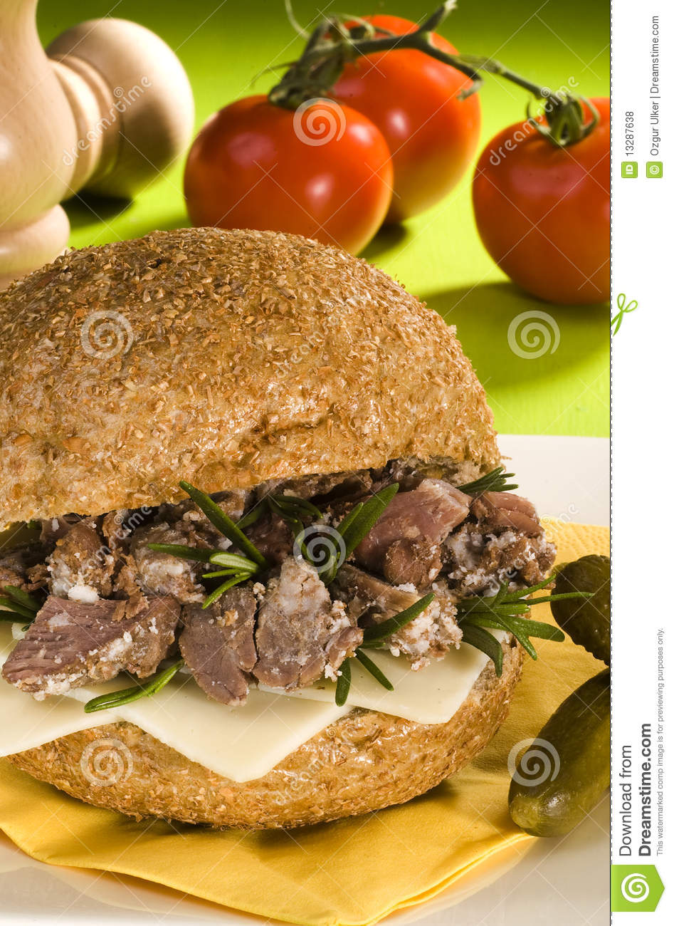 Dried Meat Sandwich Royalty Free Stock Photos   Image  13287638