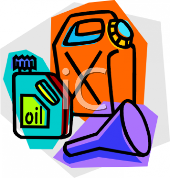 Gas Can Oil Can And Oil Funnel   Royalty Free Clip Art Image