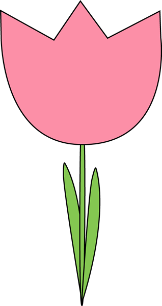 Pink Tulip Clip Art Image   Large Pink Tulip With Green Leaves