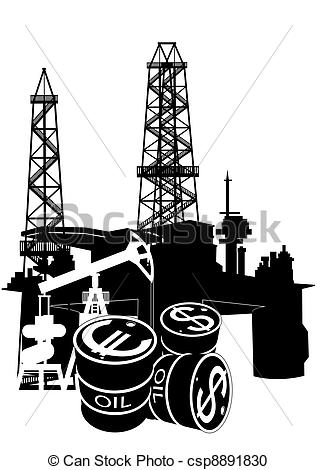 Vector Clipart Of Production And Sale Of Petroleum Pr   Oil And Gas