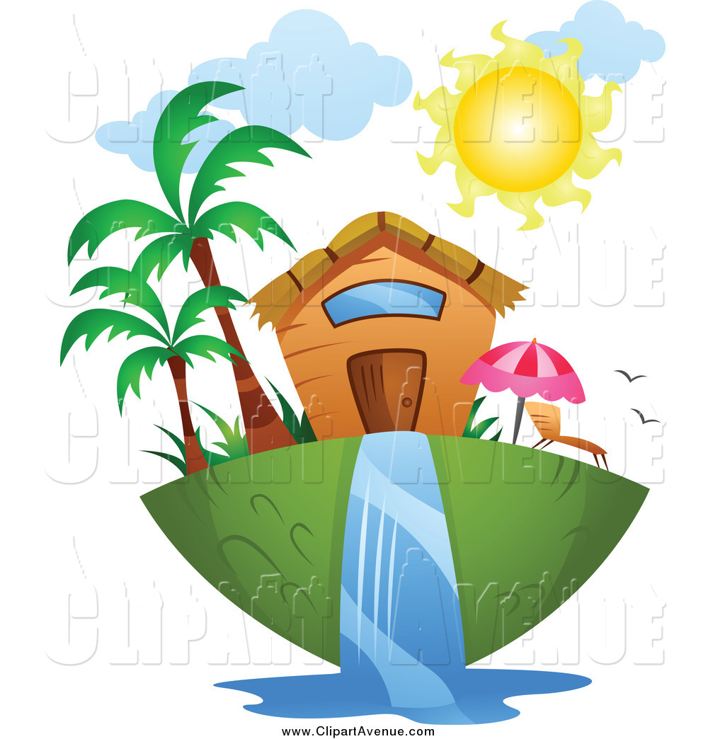 Avenue Clipart Of A Tropical Home And Waterfall By Bnp Design Studio