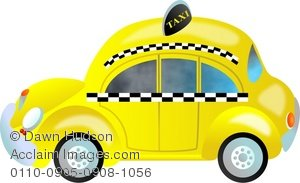 Clipart Illustration Of A Cartoon Yellow New York Taxi Cab   Acclaim