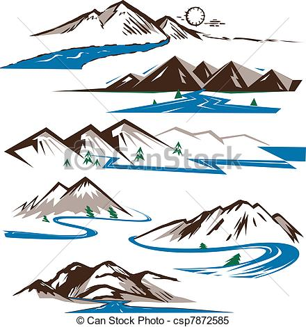 Clipart Vector Of Mountains And Rivers   Clip Art Collection Of
