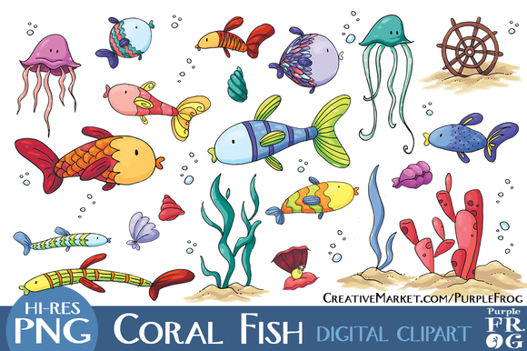 Coral Fish   Digital Clipart