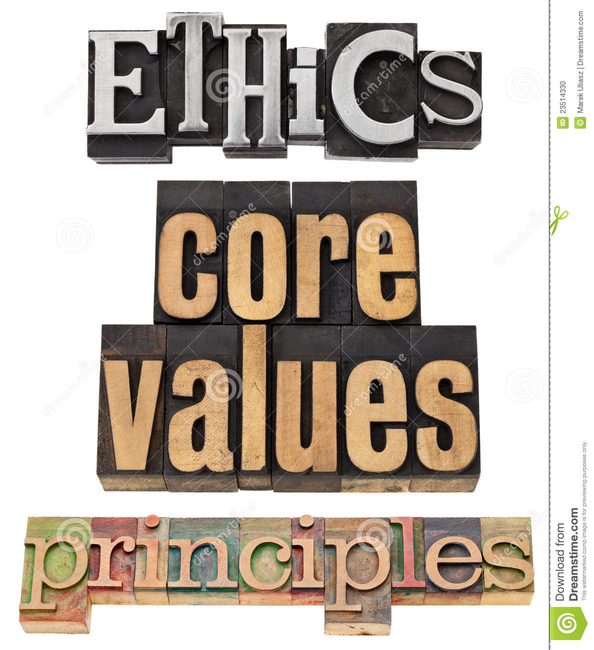 Ethics Core Values Principles   A Collage Of Isolated Words In