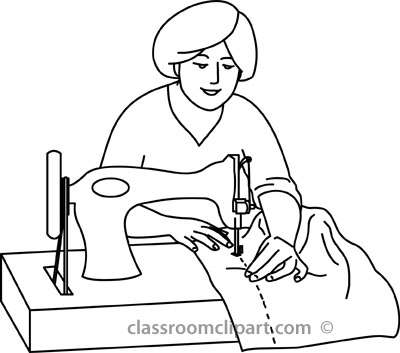 Home   Woman Sewing On Machine Outline   Classroom Clipart
