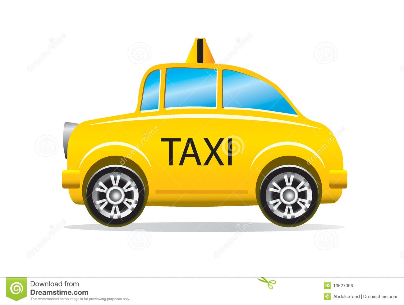 Illustration Of Yellow Taxi Cab Isolated On White Background