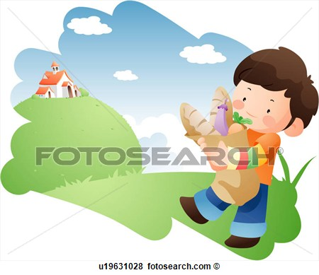 Little Boy Going Home From The Market U19631028   Search Eps Clip Art