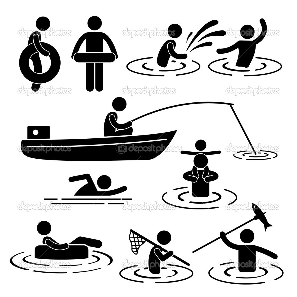 River Water Stick Figure Pictogram Icon   Stock Vector   Leremy