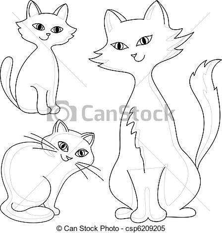 Three Cats Clipart Three Kind Cheerful Domestic