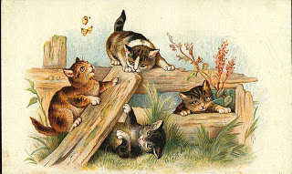 Three Cute Vintage Cats Victorian Clipart