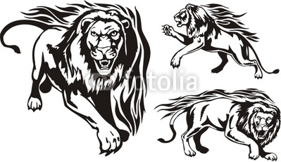 Three Lions  Flaming Big Cats  By Digital Clipart Royalty Free