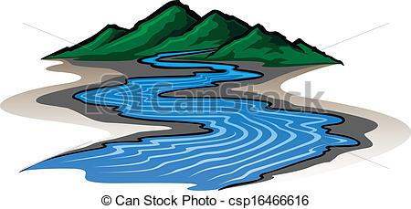 Vector Clip Art Of Mountains And River   Illustration Of A Graphic