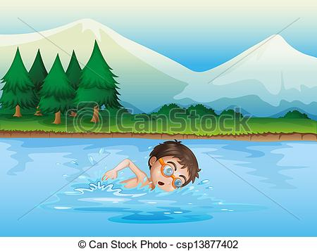 Vector Clipart Of A Boy Swimming At The River   Illustration Of A Boy