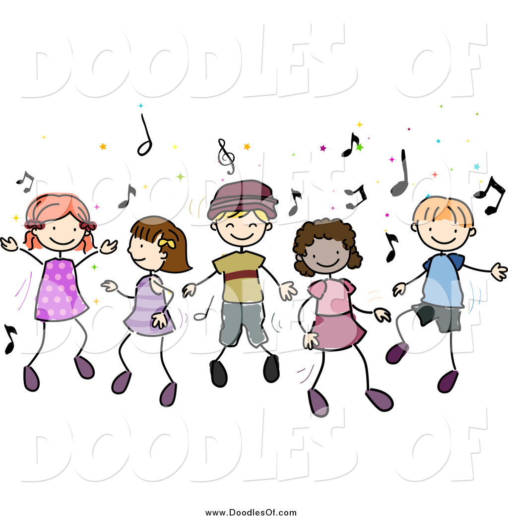 Vector Clipart Of Doodled Diverse Children Dancing To Music By Bnp