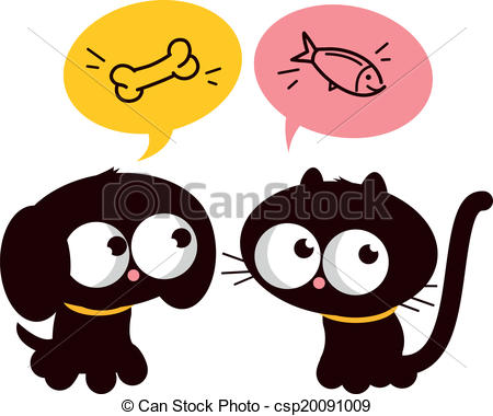 Vector Clipart Of Hungry Cat And Dog   A Hungry Dog And A Cat Thinking