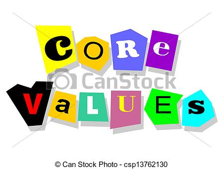Vectors Of Core Values   Ethics Concept   Core Values Words In