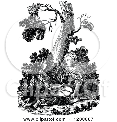 Vintage Black And White Biblica Scene Of Two Women Grinding At The