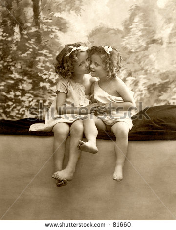 Vintage Photograph  C  1900  Of Two Little Girls Cheek To Cheek