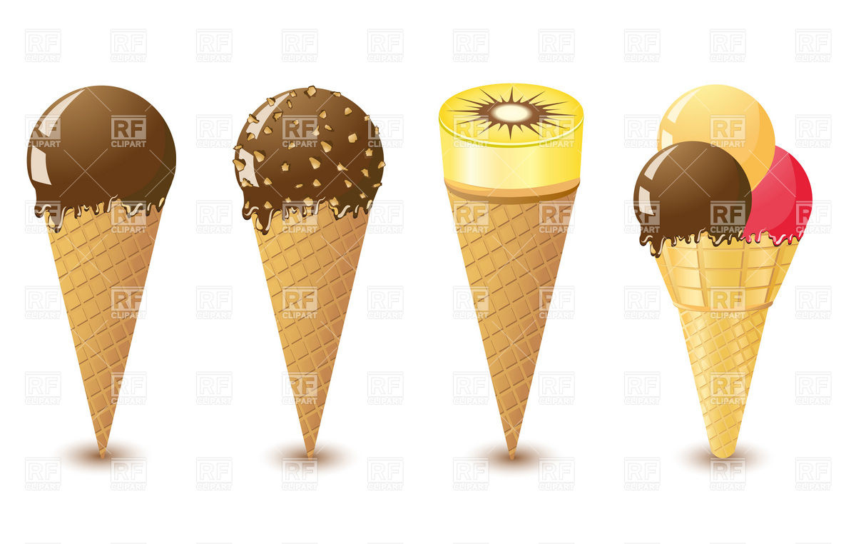 Cone Chocolate Ice Cream Set Download Royalty Free Vector Clipart