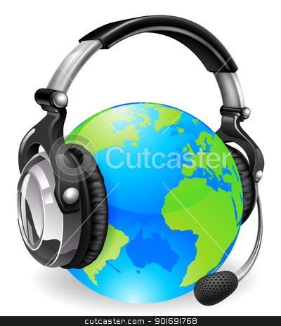 Help Desk Headset World Globe Stock Vector Clipart Help Desk Headset