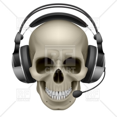 Help Desk Skull With Headphones And Mic 7400 Download Royalty Free