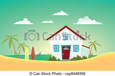 Art Vector Of House Of The Beach   Illustration Of A Cartoon House