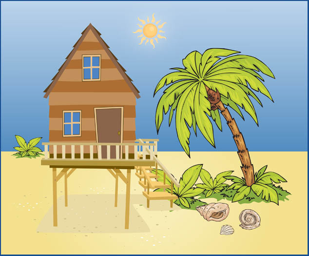 Beach House With Pretty Palm Trees
