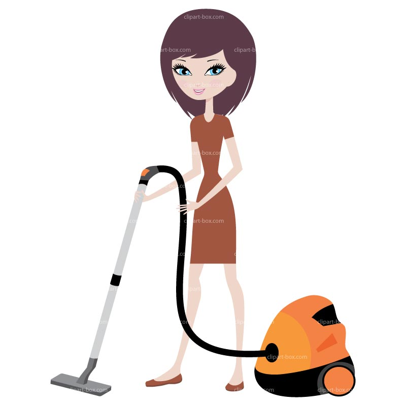Clipart Girl With Vacuum Cleaner   Royalty Free Vector Design