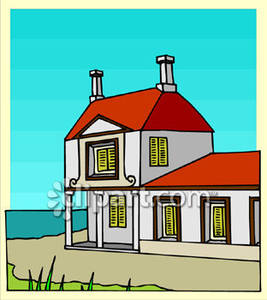 House On The Beach Royalty Free Clipart Picture